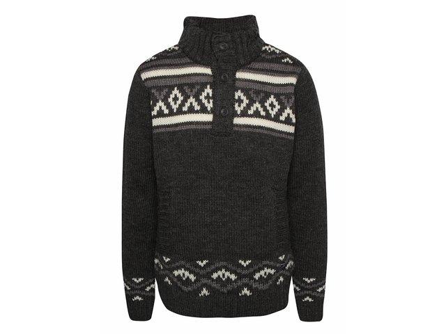 Tmavosivý vzorovaný sveter s vysokým golierom Blend 86debe72e55