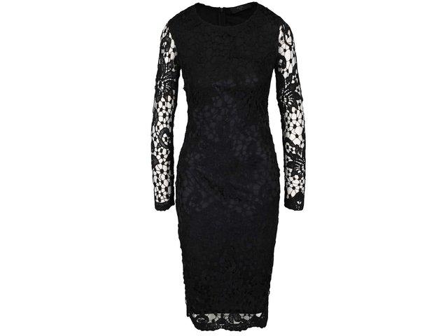 Čierne čipkované šaty s dlhým rukávom AX Paris   6134ef7ea7d