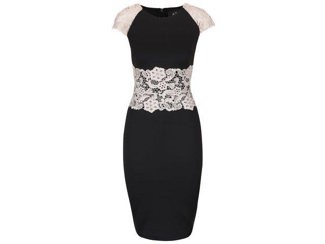 Čierne šaty s krémovou čipkou AX Paris   f480e377711