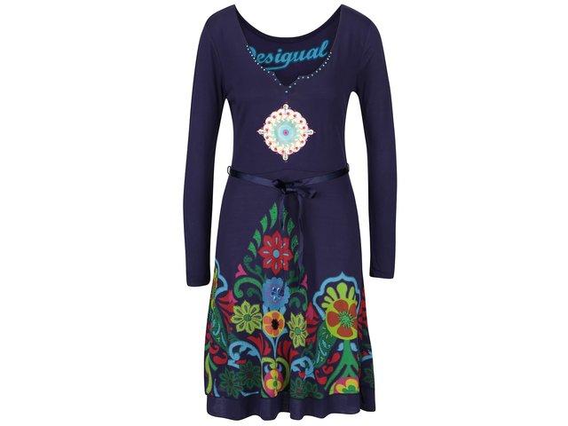 Tmavomodré šaty s potlačou a kamienkami Desigual Yakara   d5a30ef8162