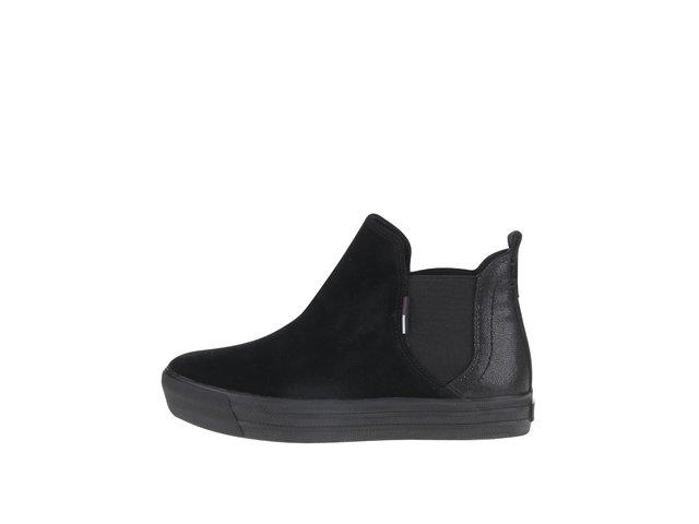 abff221683 Čierne dámske semišové chelsea topánky Tommy Hilfiger