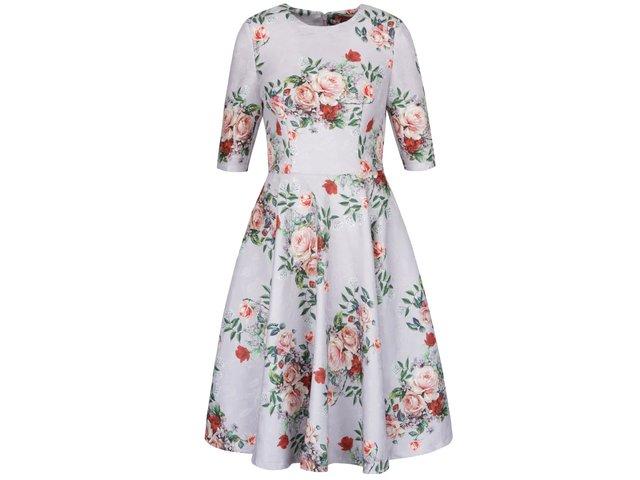 a2fab9b26d39 Svetlosivé kvetované šaty s 3 4 rukávmi Chi Chi London
