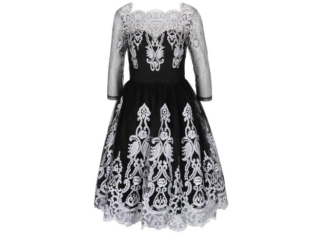 Čierne šaty s tylovou sukňou a čipkou v striebornej farbe Chi Chi London   1dc059c5936