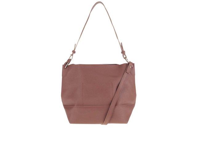 Hnedá koženková kabelka Pieces Pilla Bucket   023c9d154d0