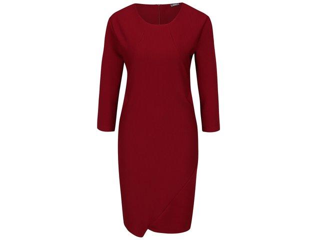 38abbbcd2430 Vínové rebrované šaty s 3 4 rukávmi ZOOT