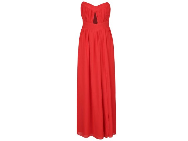 474d2fb3dc77 Červené dlhé šaty s prestrihom v dekolte Little Mistress