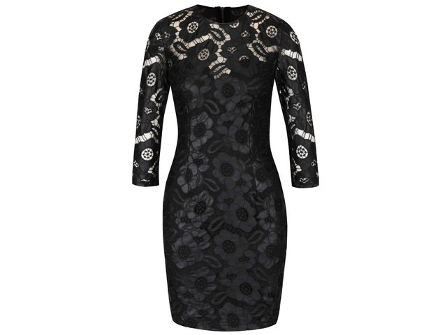 30117a3ee518 Čierne koženkové čipkované šaty s 3 4 rukávmi Little Mistress