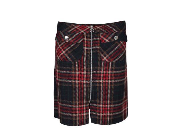 f518f1313b3f Červeno-čierna károvaná sukňa na zips Dorothy Perkins