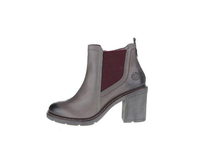 fb5223c08 Sivé dámske kožené členkové topánky na podpätku bugatti Adina ?