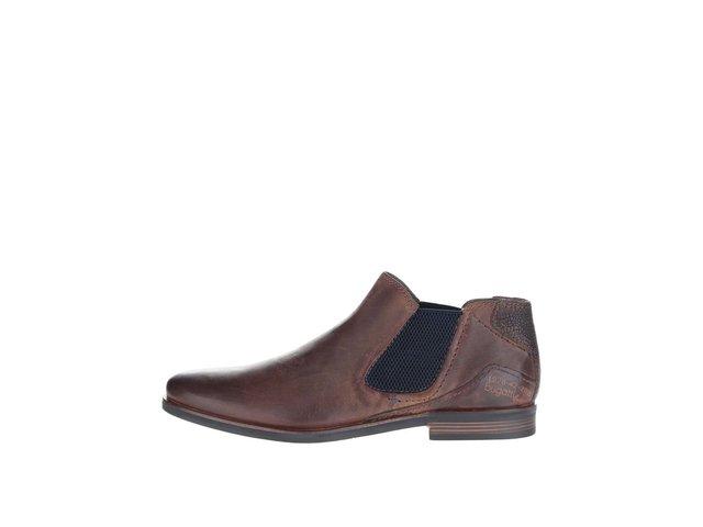 3a387d8d8 Tmavohnedé pánske kožené členkové chelsea topánky bugatti Abramo ?
