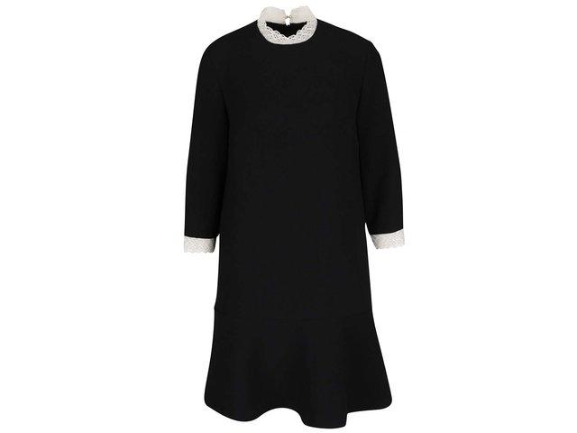 8c3bbd984ee5 Čierne šaty s čipkovanými lemami a 3 4 rukávmi Pietro Filipi