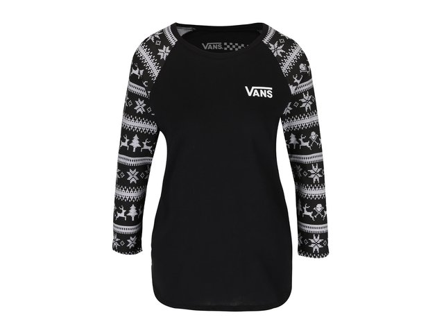 Čierne dámske tričko so vzorovanými 3 4 rukávmi Vans reindeer Raglan   971ce95599e