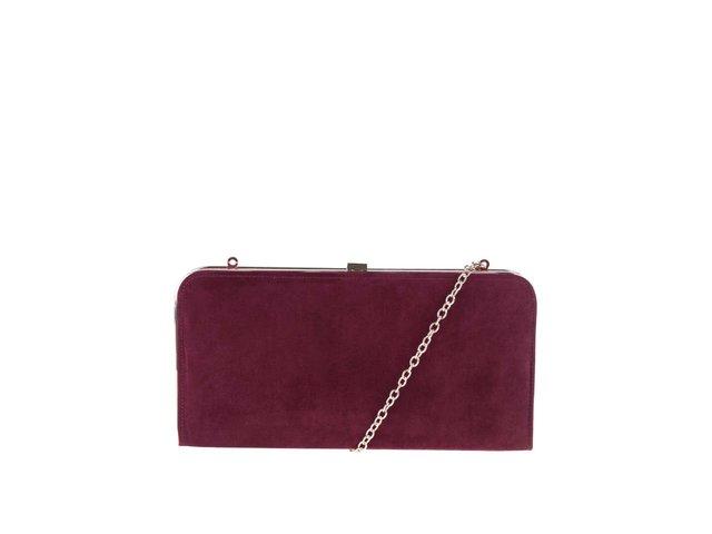 512b78778372 Vínová listová kabelka v semišovej úprave s drobnou retiazkou Dorothy  Perkins