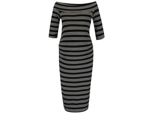 cd879ca8ef7d Čierne tehotenské pruhované šaty s odhalenými ramenami Dorothy Perkins  Maternity