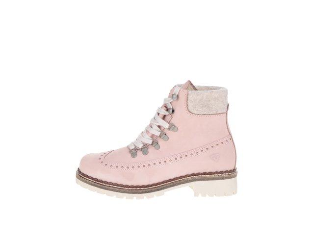 aae45ab69f46 Svetloružové kožené členkové topánky s umelým kožúškom Tamaris