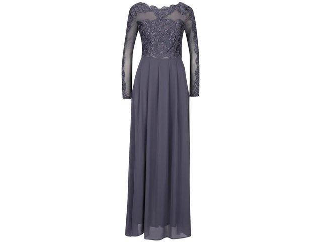 20b887074ff9 Sivé dlhé večerné šaty s čipkovaným topom AX Paris