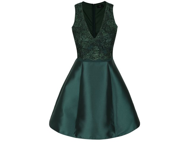 a30f00738cd0 Tmavozelené šaty s čipkou AX Paris