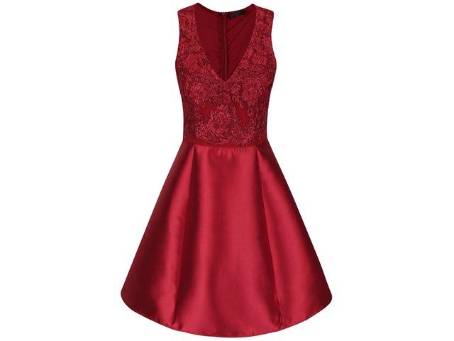 Vínové šaty s čipkou AX Paris   6261deacffb
