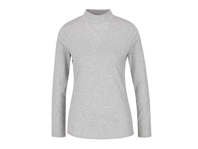 8aef9ff58601 Sivé melírované tričko s dlhým rukávom a vyšším golierom Dorothy Perkins
