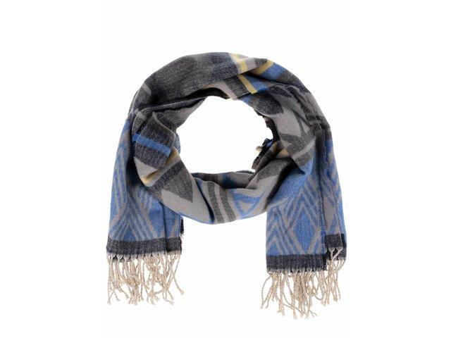 Modro-sivá vzorovaná šatka so strapcami Pieces Familla   bfee3d2675d