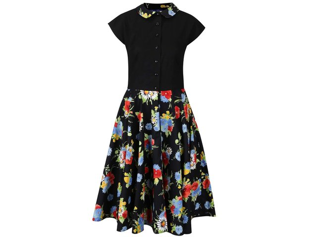 Černé retro šaty s motivem barevných květů Lazy Eye Agnes   6173f7c1f41