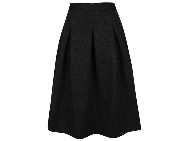 1c24717c144a Čierna midi sukňa s jemným vzorom Closet