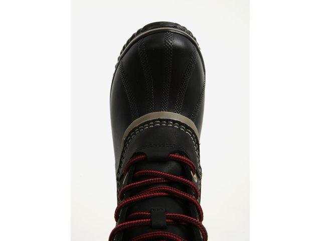 Černé dámské kožené kotníkové voděodolné zimní boty na nízkém podpatku SOREL 13e8e33d2e