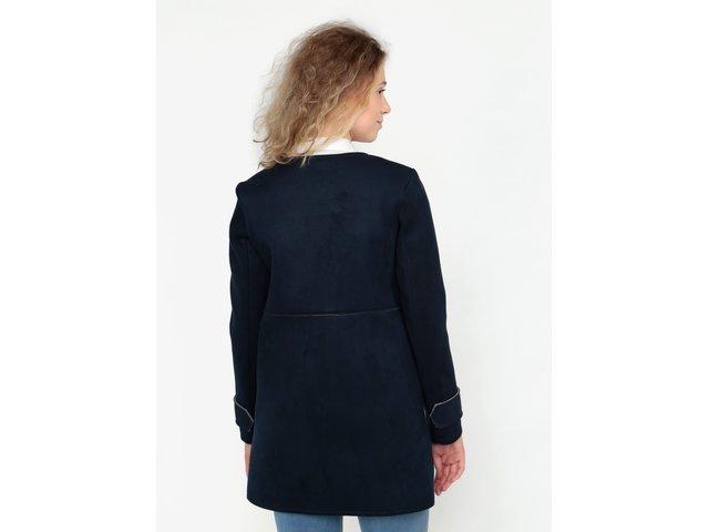 Tmavě modrý kabát v semišové úpravě ZOOT  0831be9821c