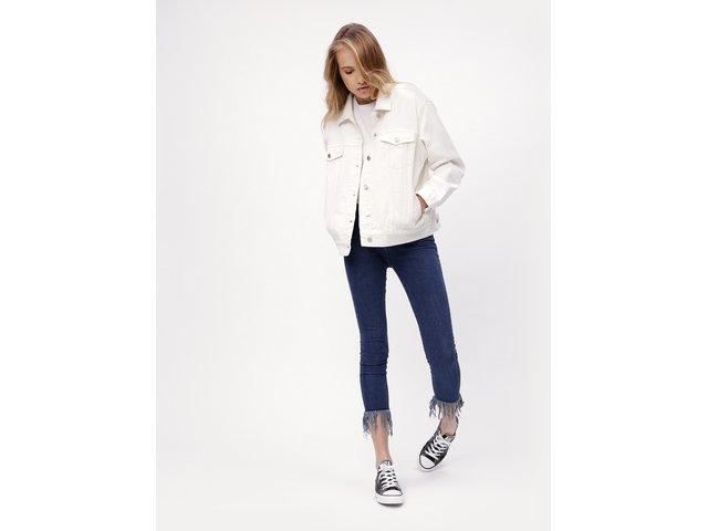 Bílá džínová oversize bunda MISSGUIDED