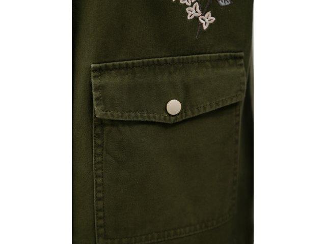Khaki bunda s výšivkou Dorothy Perkins Petite