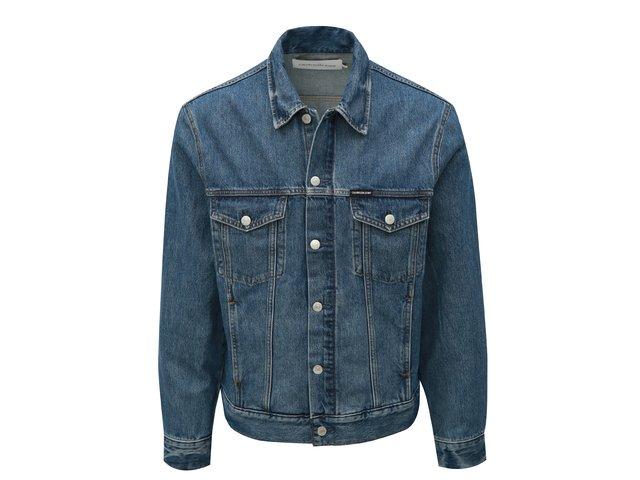 Modrá pánská džínová bunda s koženou nášivkou Calvin Klein Jeans