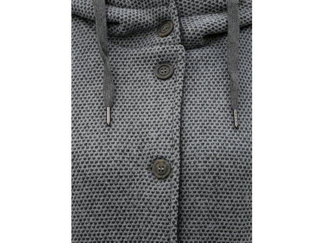 Šedý dámský žíhaný kabát s velkou kapucí killtec