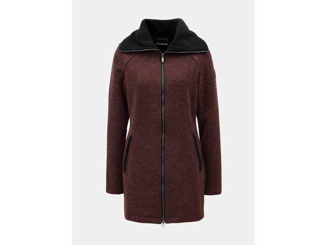 Vínový dámský žíhaný kabát s rolákem killtec