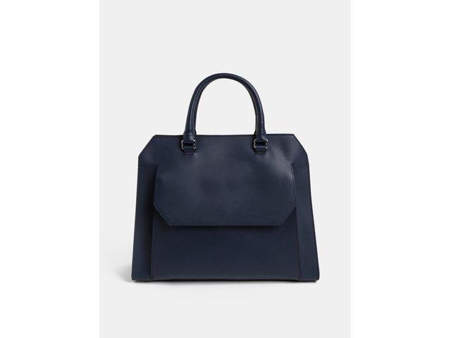 2f07211101 Tmavě modrá kožená kabelka s kapsou BREE Cambridge 13