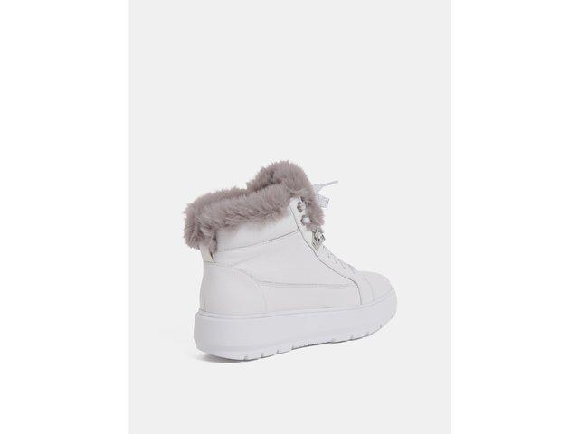 a121c49167a Bílé dámské kožené zimní boty na platformě Geox Kaula