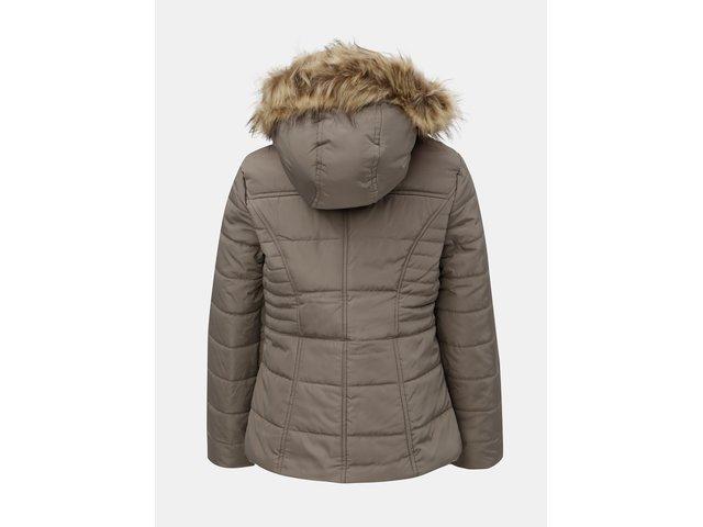 Béžová prošívaná zimní bunda s umělým kožíškem M&Co Petite