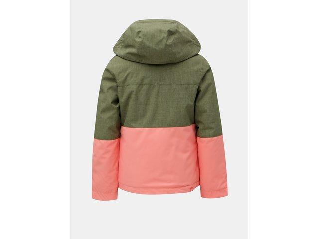 3d9885fd6 Růžovo-zelená holčičí lyžařská voděodolná zimní bunda Roxy Jetty ...