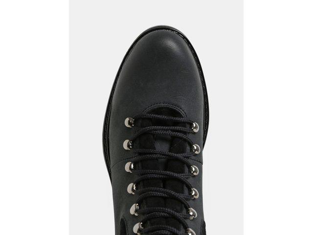 Černo-šedé dámské kožené kotníkové zimní boty se semišovými detaily  Weinbrenner 459622c289
