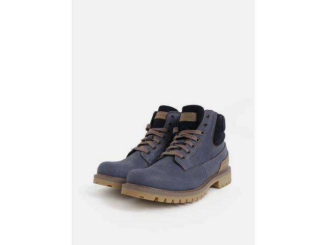 Modré pánské kožené kotníkové zimní boty se semišovými detaily Weinbrenner 333a262d4f