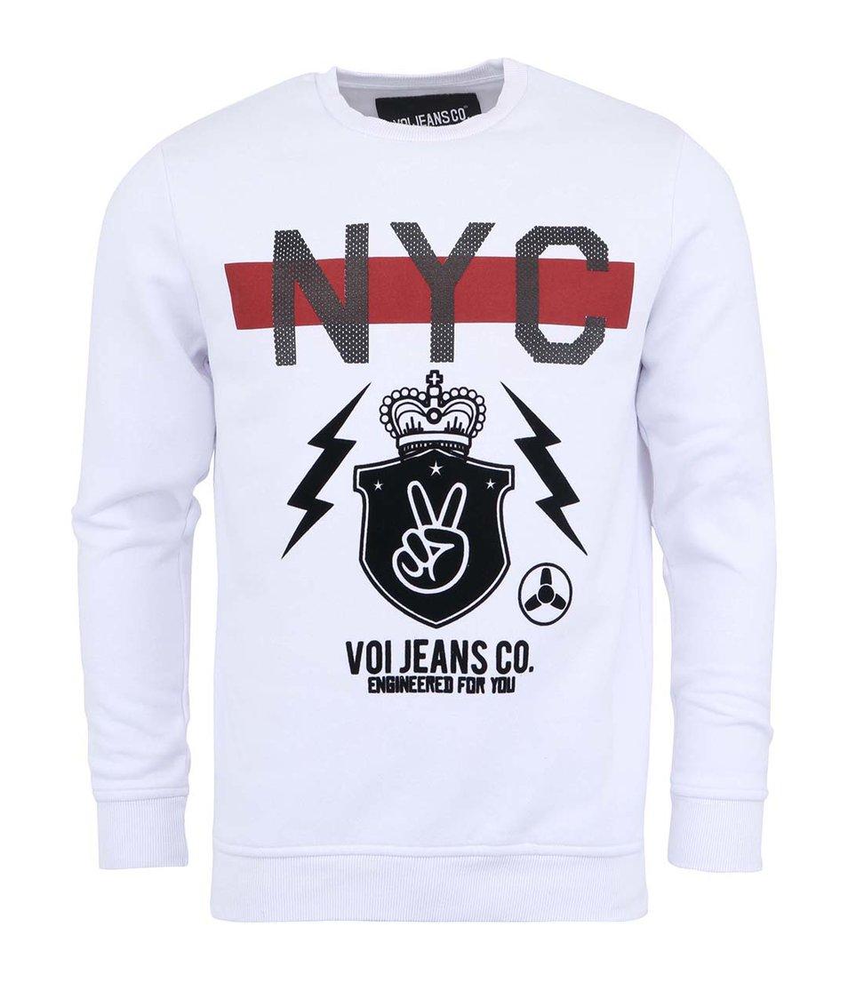 Bílá mikina s potiskem Voi Jeans NYC