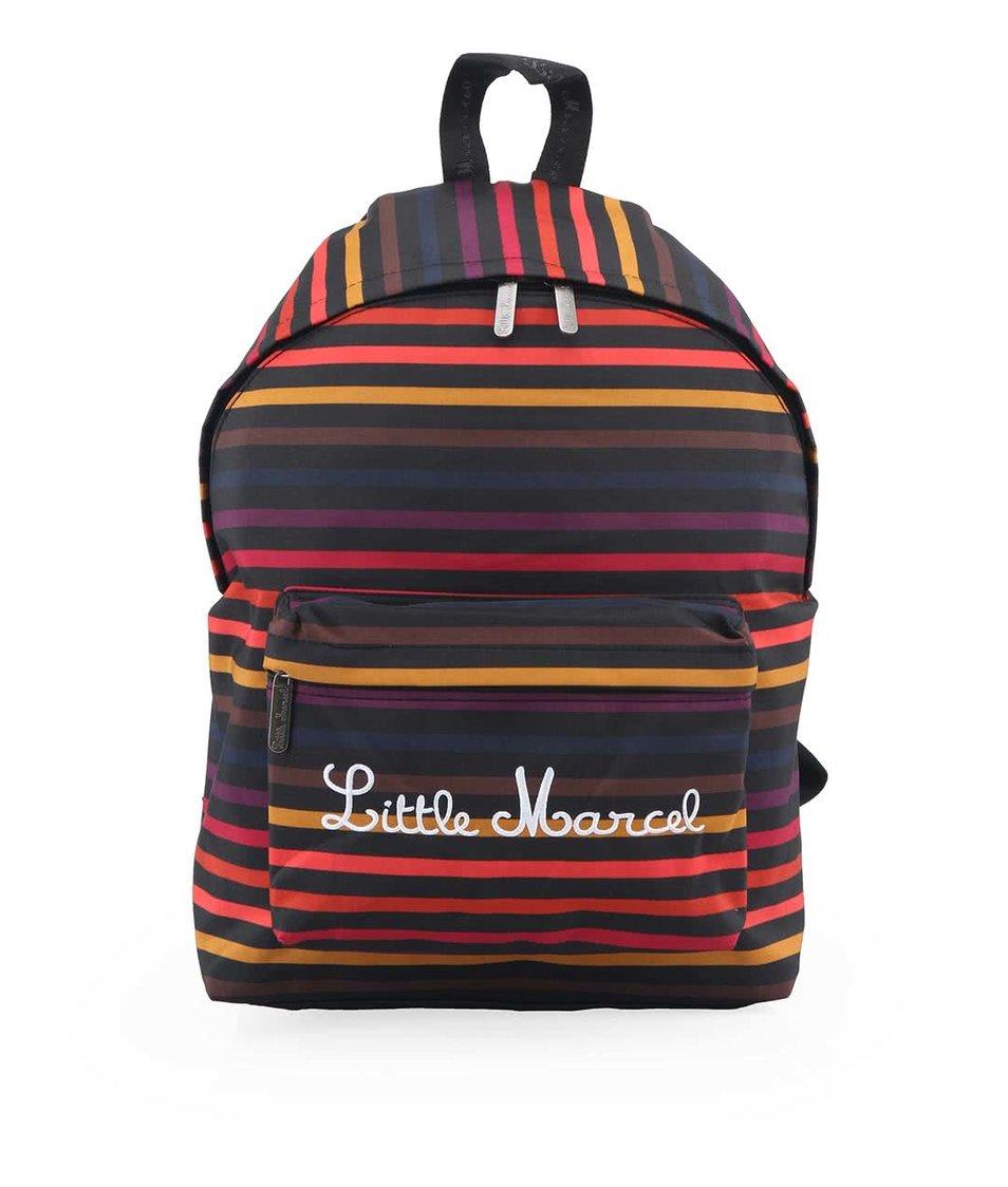 Černý batoh s barevnými pruhy Little Marcel Niby
