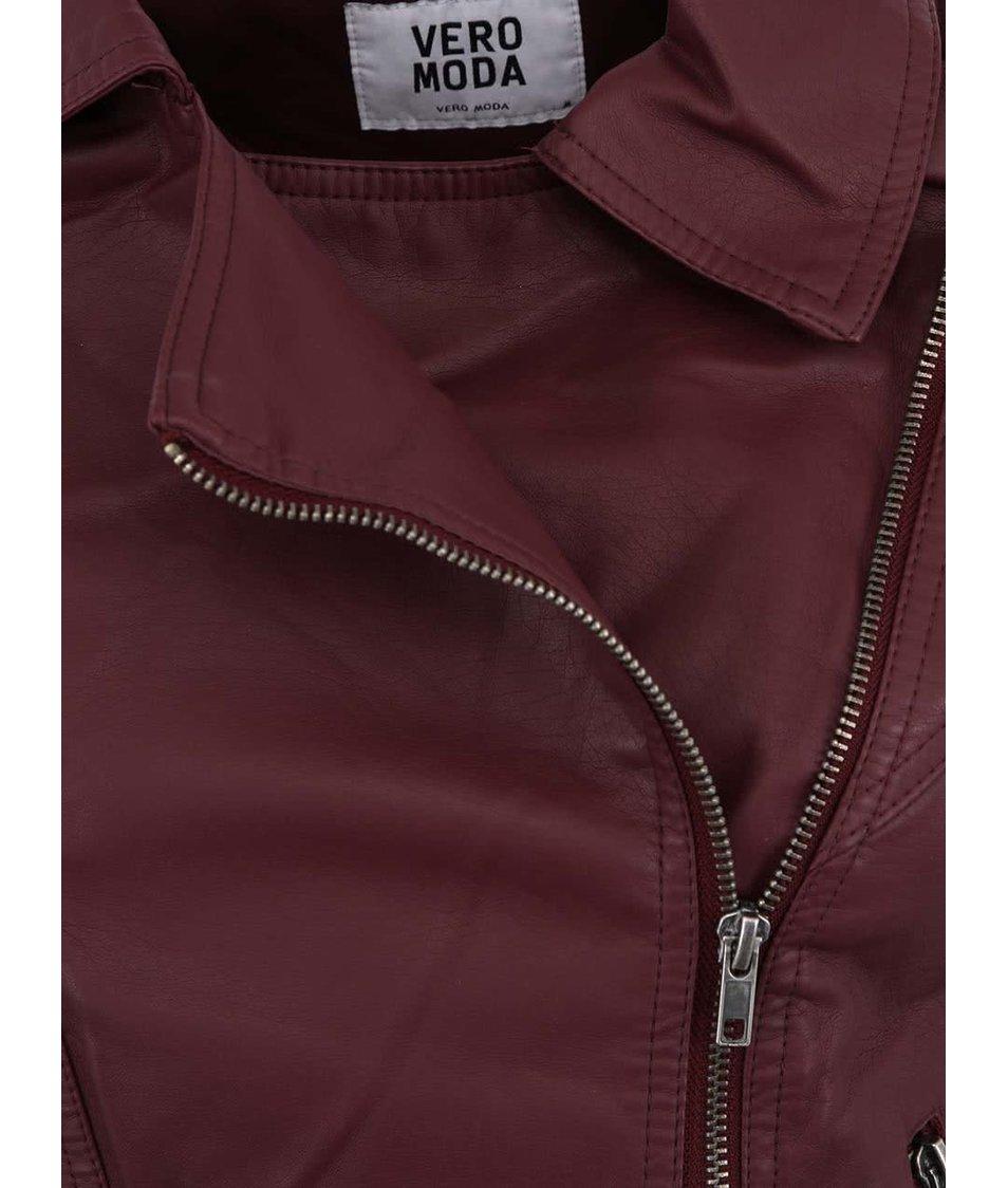 Vínová koženková bunda Vero Moda Melody