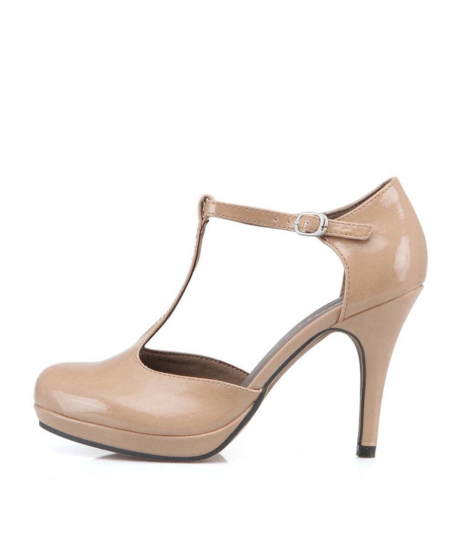 Béžové boty na podpatku Tamaris