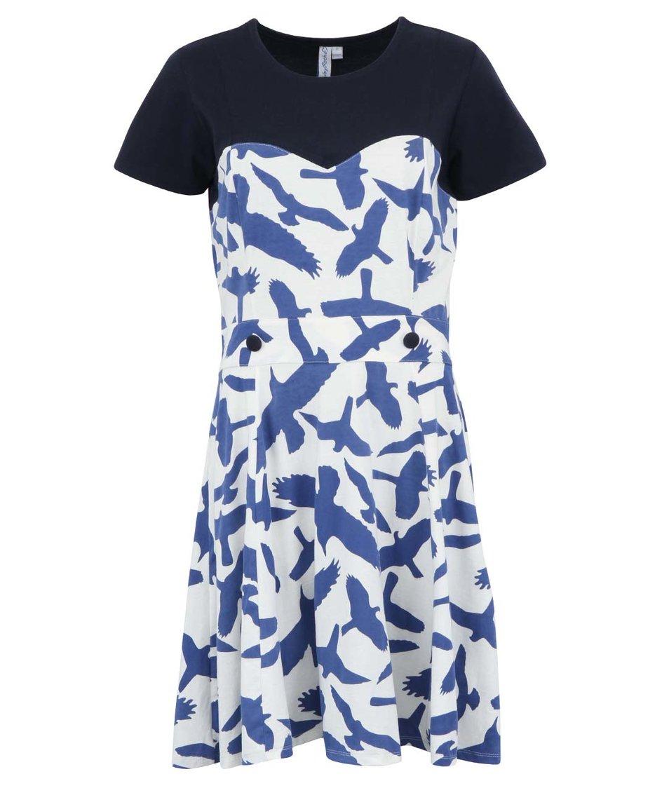 Modré šaty Ruby Rocks s ptáčky