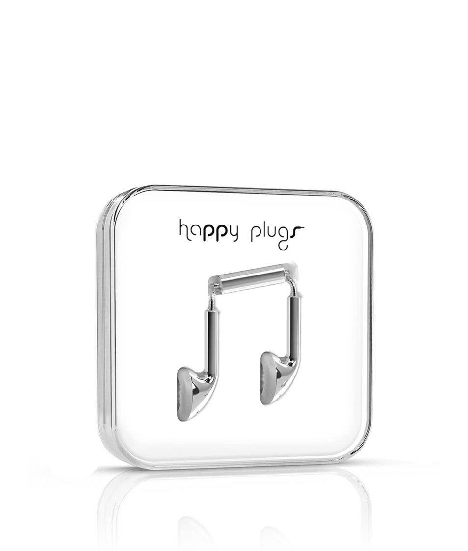 Earbud sluchátka ve stříbrné barvě Happy Plugs
