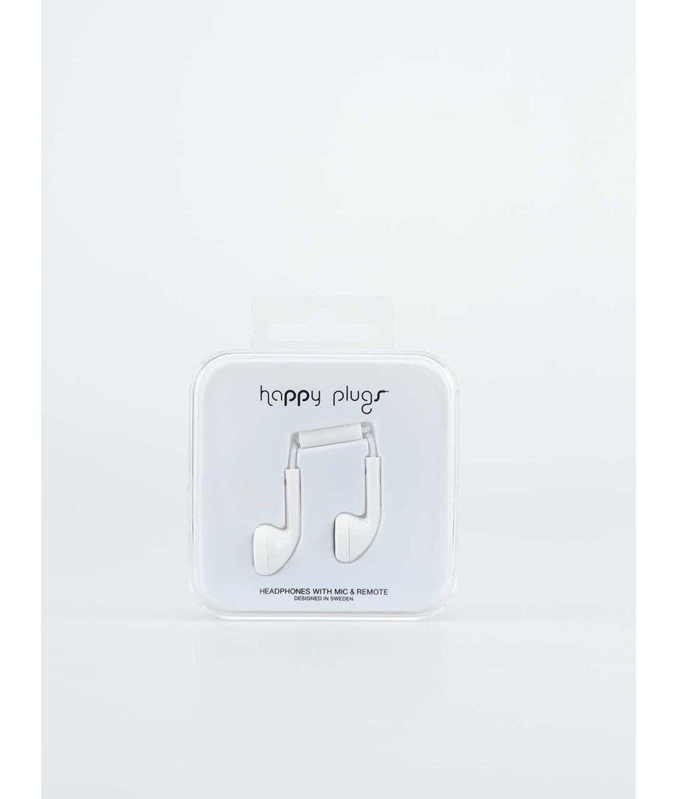 """Bílá sluchátka do uší """"pecky"""" Happy Plugs"""