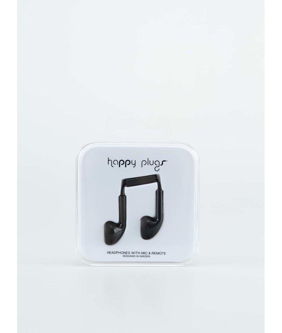 """Černá sluchátka do uší """"pecky"""" Happy Plugs"""
