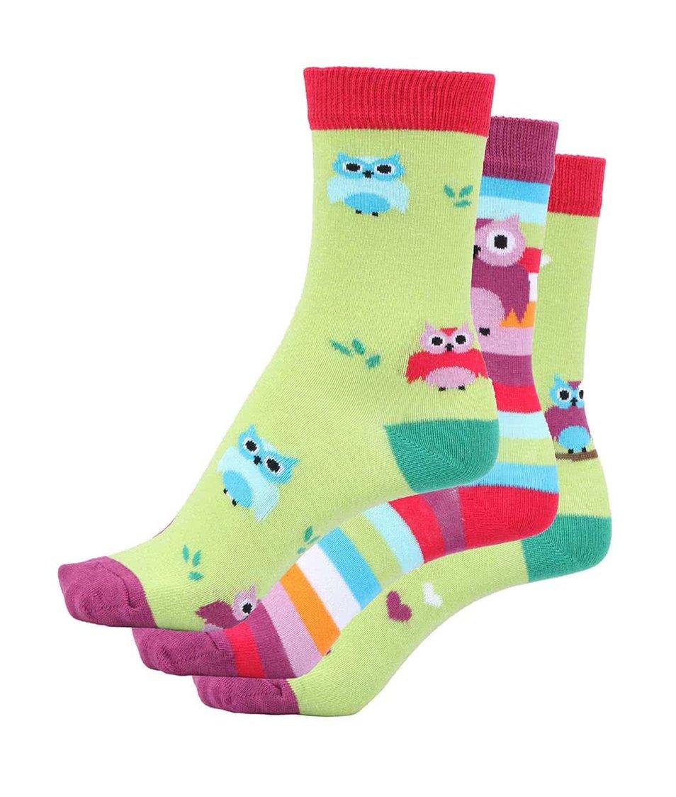 Sada tří dámských/holčičích ponožek Oddsock Owls