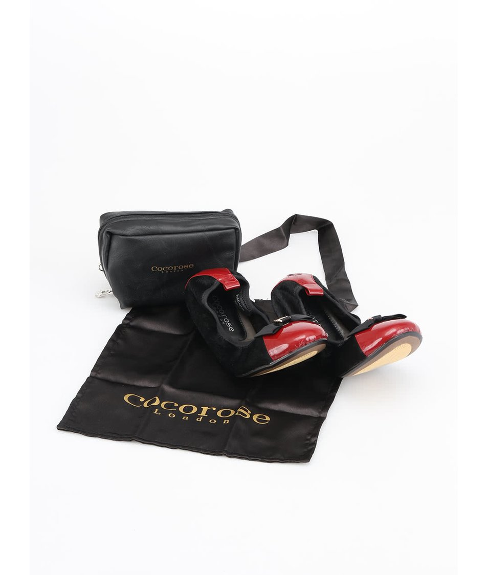 Vínovo-černé kožené balerínky Cocorose London Paddington