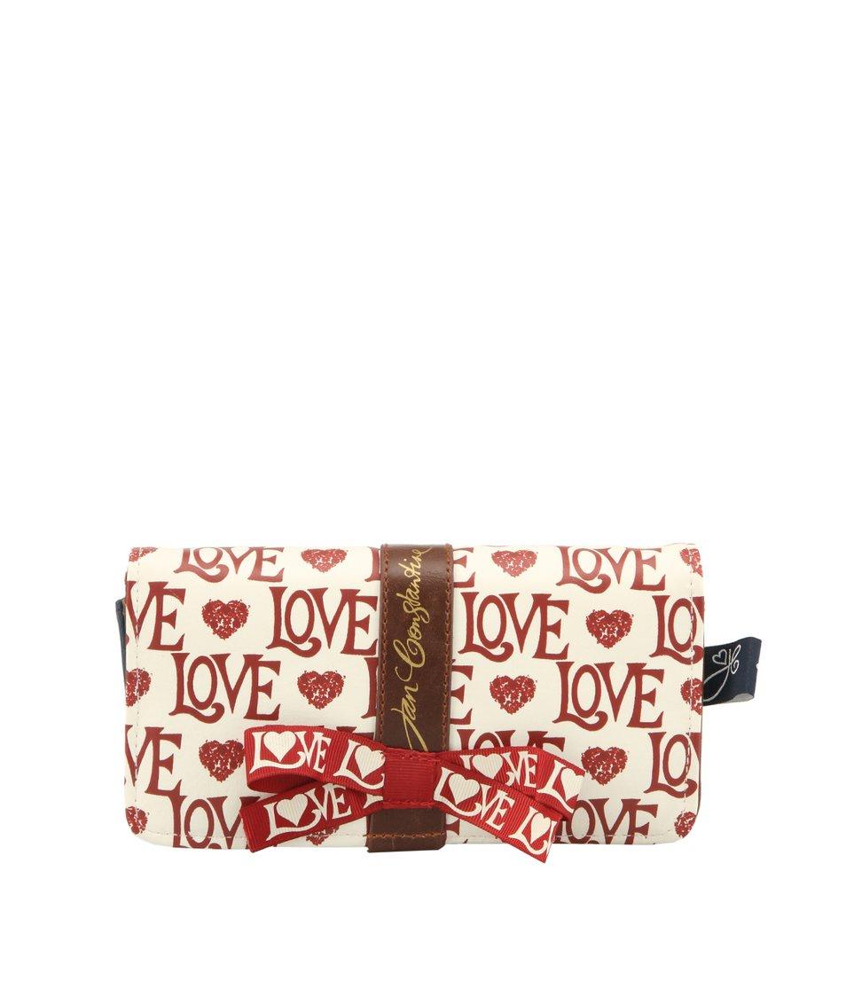 Krémová peněženka s nápisy LOVE Disaster